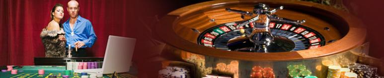 couple playing casino games and roulette wheel